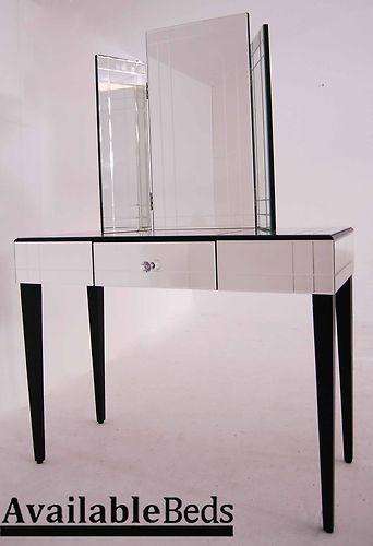 JULIA Mirrored Furniture Dressing Console And Art Deco Triple Fold Mirror