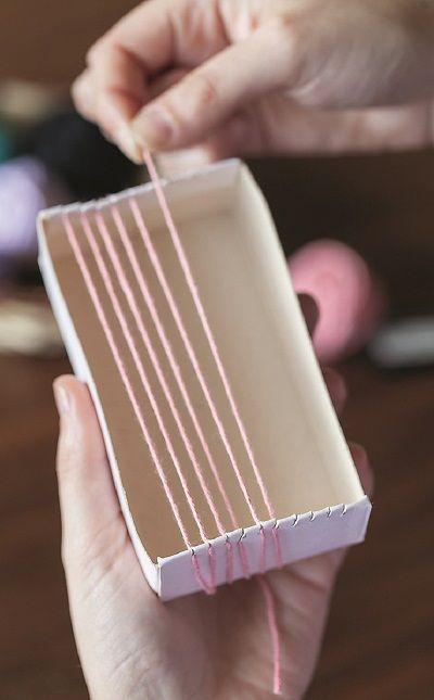 manualidades telar caja de fosforos