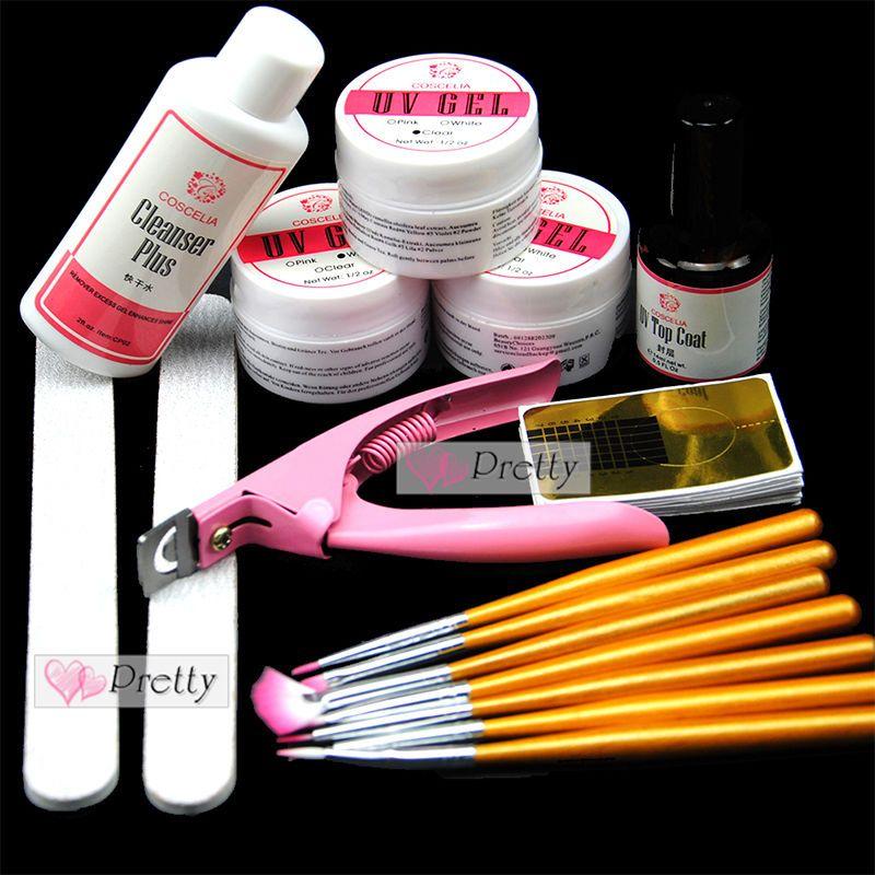 Coscelia Base Uv Gel Starter Kit Nail Art Brush Topcoat Cleanser Plus Brush Set Nail Art Kit Gel Nail Art Uv Gel