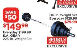 S A Gear 225 Lb Weight Set From Sports Authority 149 99