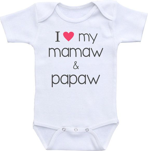 Promini Funny I Love My Mamaw and Papaw Baby Bodysuit Cute Infant One-Piece Bodysuit Baby Romper Best Gift for Baby