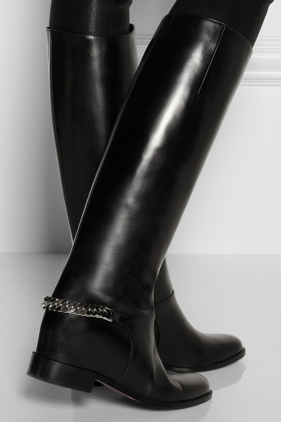 2e9f48026cd Christian Louboutin | Cate chain-trimmed leather riding boots | NET ...