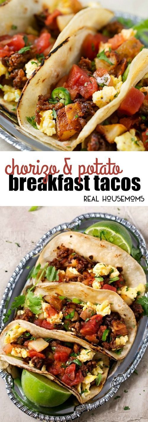 These Chorizo and Potato Breakfast Tacos are full of bold flavors for an epic breakfast recipe you'll want to make again and again! #breakfastacos #chorizoandpotato