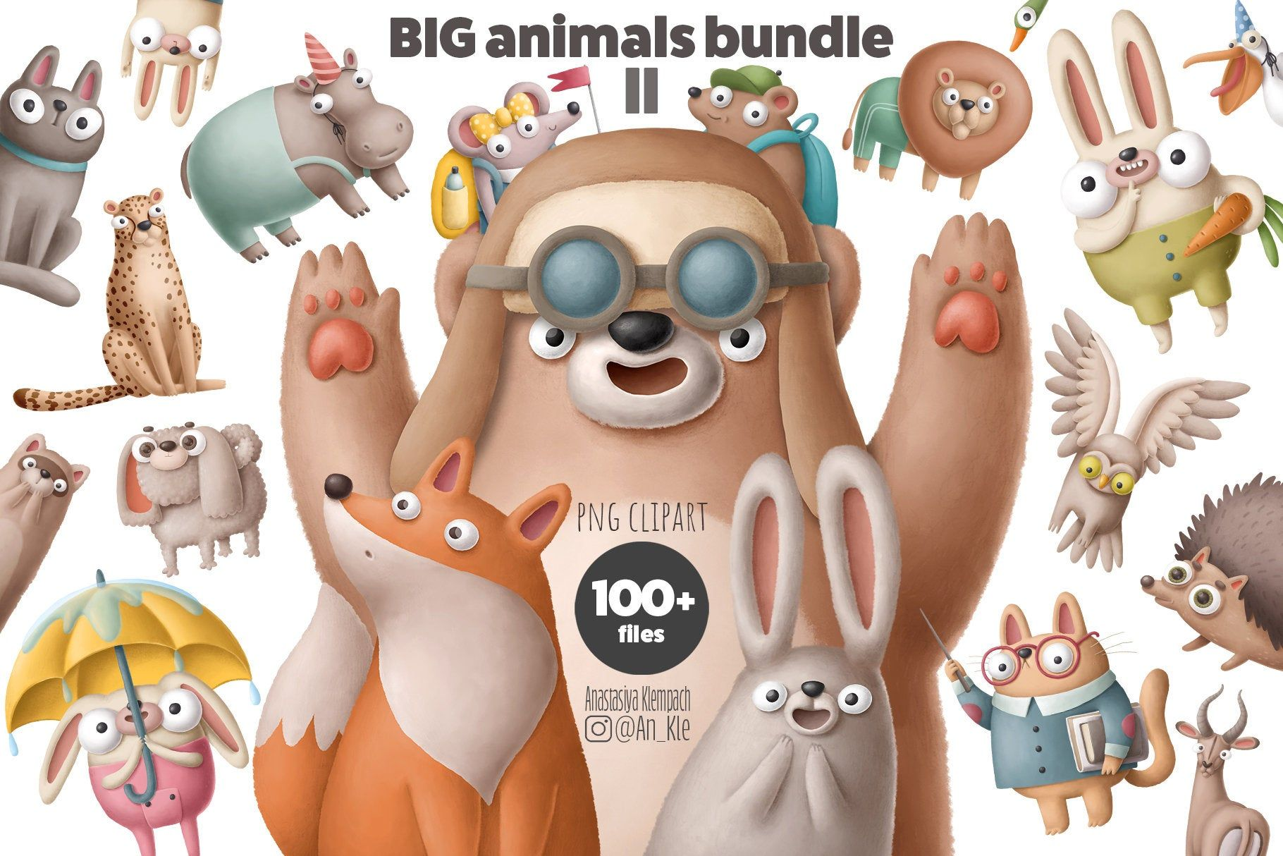 Excited To Share The Latest Addition To My Etsy Shop Digital Animals Clipart Collection Dropbox Download Commercial And Big Animals Animal Clipart Clip Art