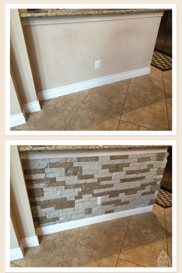 Airstone on my bar wall. DIY. Found at Lowes. Super easy! | kitchen ...