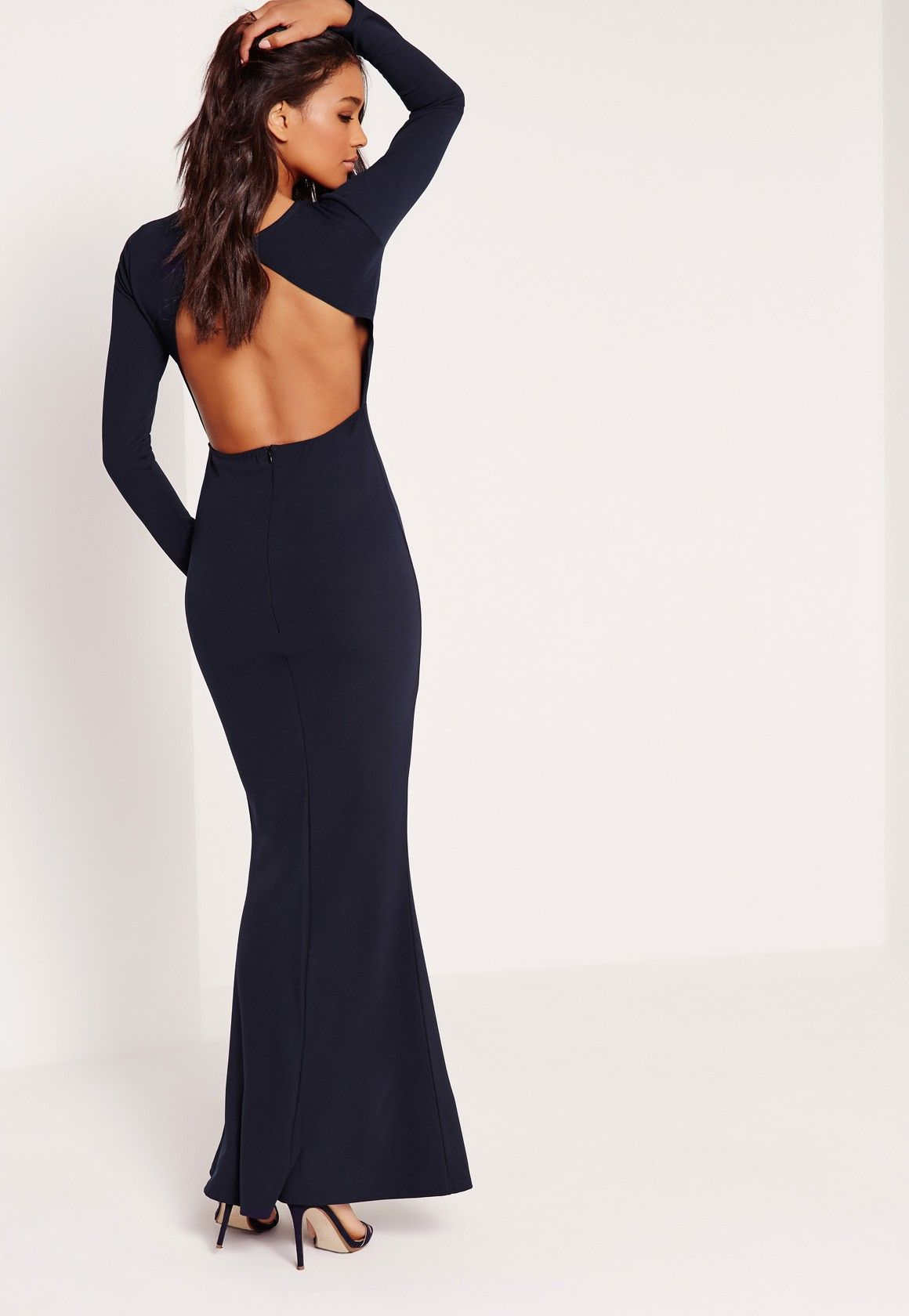 42bedaa029 Missguided - Long Sleeve Open Back Maxi Dress In Navy -  56 ...