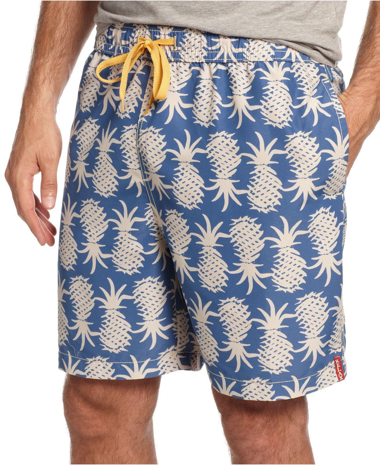 0d80259c6c7988 Tommy Bahama Swimwear, Pineapple Upside Down Trunks - Mens Swim - Macy's