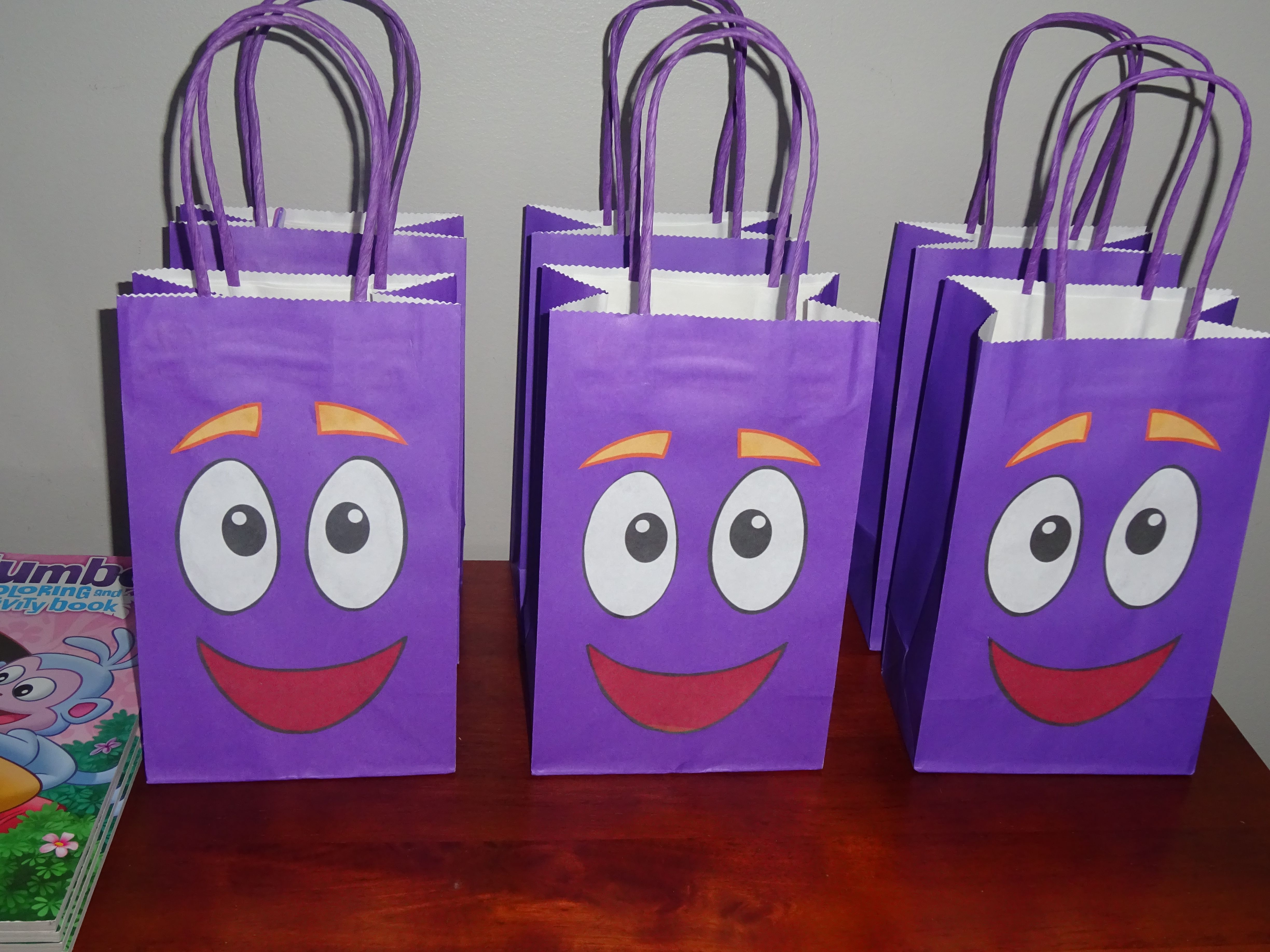Dora Backpack loot bags Printable glued on purple bags from