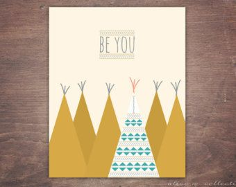 Be You Boho Tribal Tepee Inspirational Kid's Wall Art, Instant Download Print