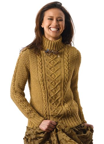 2451f76efb62 Tracy is a turtleneck pullover with cable central panel - free pattern by  Norah Gaughan - Berroco
