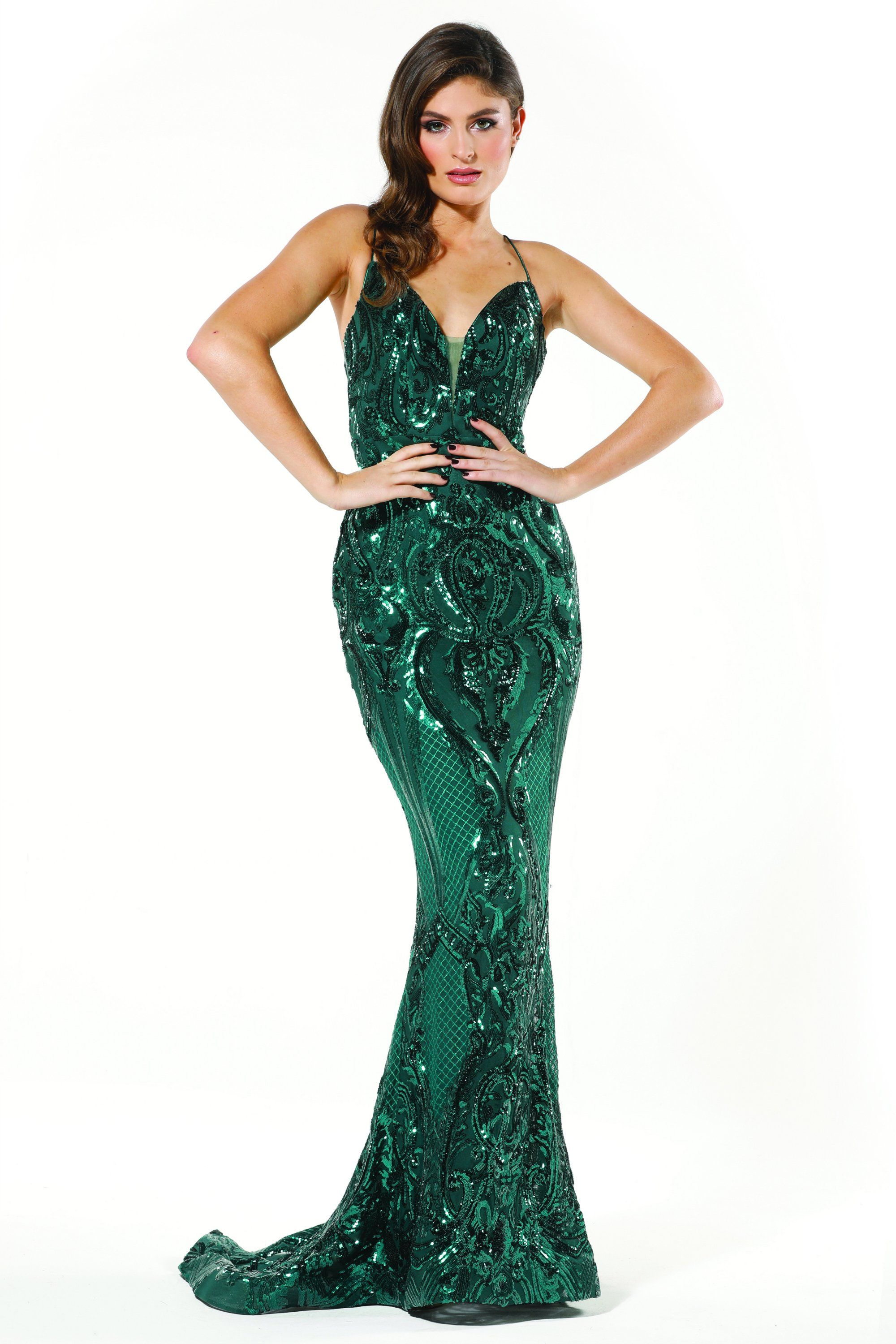 Tinaholy Couture T19280 Emerald Green Mermaid Formal Prom Dress [ 3000 x 2000 Pixel ]