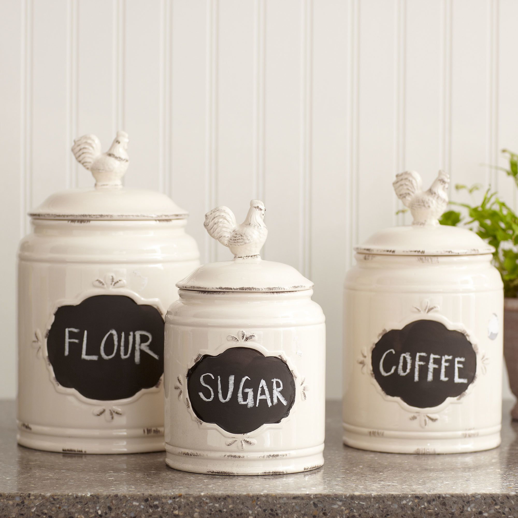 Kitchen, Enchanting White Ceramic Kitchen Canister Sets With Chicken Style  On Top: Attractive Kitchen Canister Sets For Your Kitchen