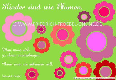 Kinderzitat Kindergarten   Pädagogisches Zitat Von Friedrich Fröbel: Poster  KINDER SIND WIE BLUMEN.
