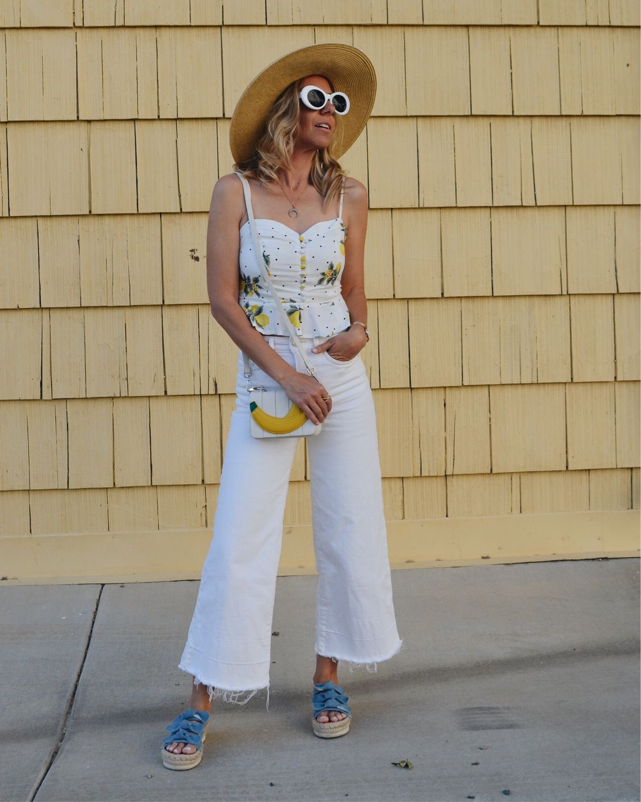 88ae8351c613 THE MUST HAVE SHOE TREND- PLATFORMS- Jaclyn De Leon Style + espadrille slip  on denim sandals + white culottes + lemon top + fruit inspired tank + straw  hat ...