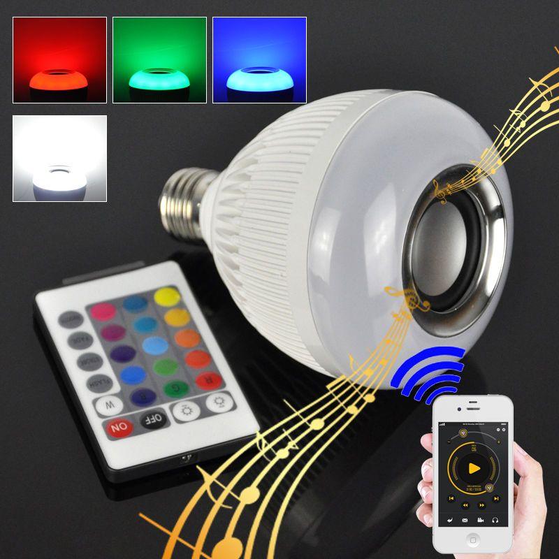 Pintar Rgbw Wireless Bluetooth Speaker Bola Bermain Musik Dimmable 12 W E27 Led Light Bulb Lampu Dengan 24 Tombol Remote Cont Light Bulb Bulb E27 Led