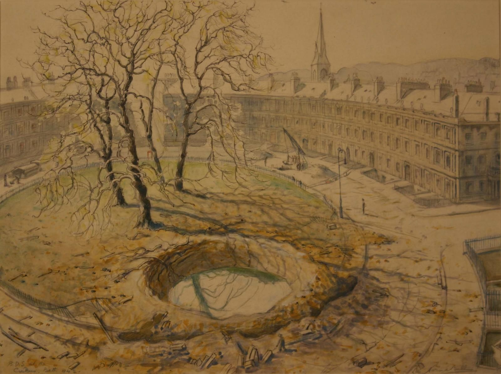 Norma Bull The Bomb Disposal Service At The Circus Bath 1942 Watercolour Victoria Art Painting Landscape Paintings