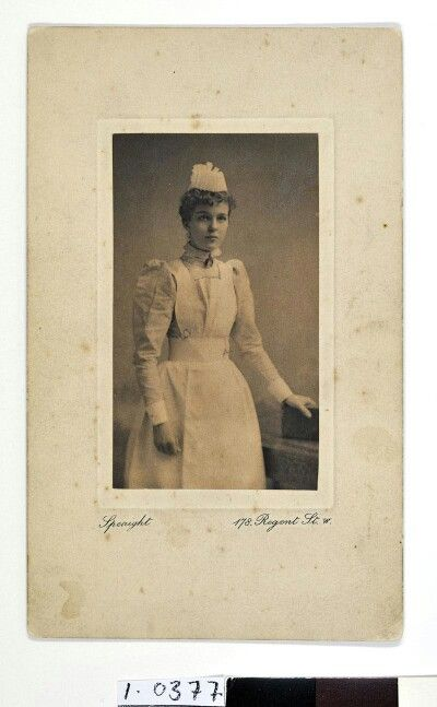 Florence Nightingale museum, Description: Photograph by F & R Speaight, mounted, [probationer] nurse Helena Riddick (NTS 1895-96, St Thomas' Hospital 1896-99), c.1896 in uniform. http://florence-nightingale-collections.co.uk/view/objects/asitem/search$0040/0?t:state:flow=d4ae55e1-0795-4d99-bd2a-dce89b328b33