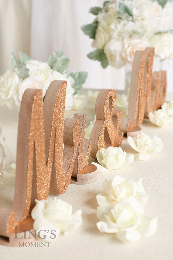Rose gold glitter mr and mrs letters wedding by for Decoration maison rose gold