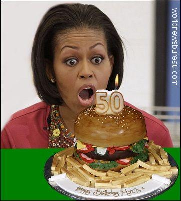 Stupendous Flotus Celebrates 50Th Birthday With Images Michelle Obama Funny Birthday Cards Online Inifodamsfinfo