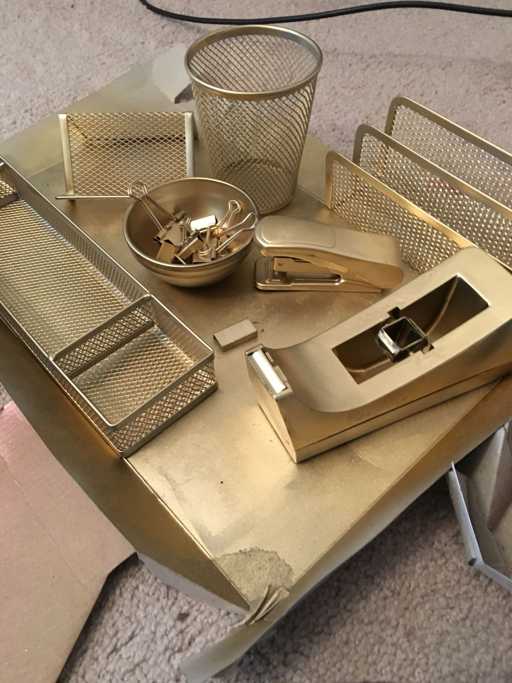 Metallic Gold Spray Painted Office Supplies From Dollar Tree More