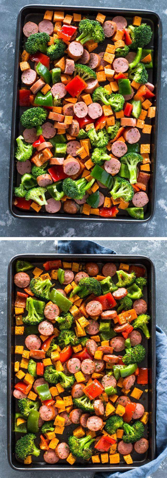 Healthy 20 Minute Sheet Pan Sausage and Veggies #onepandinners Healthy 20 Minute Sheet Pan Sausage and Veggies | Gimme Delicious #onepandinnerschicken