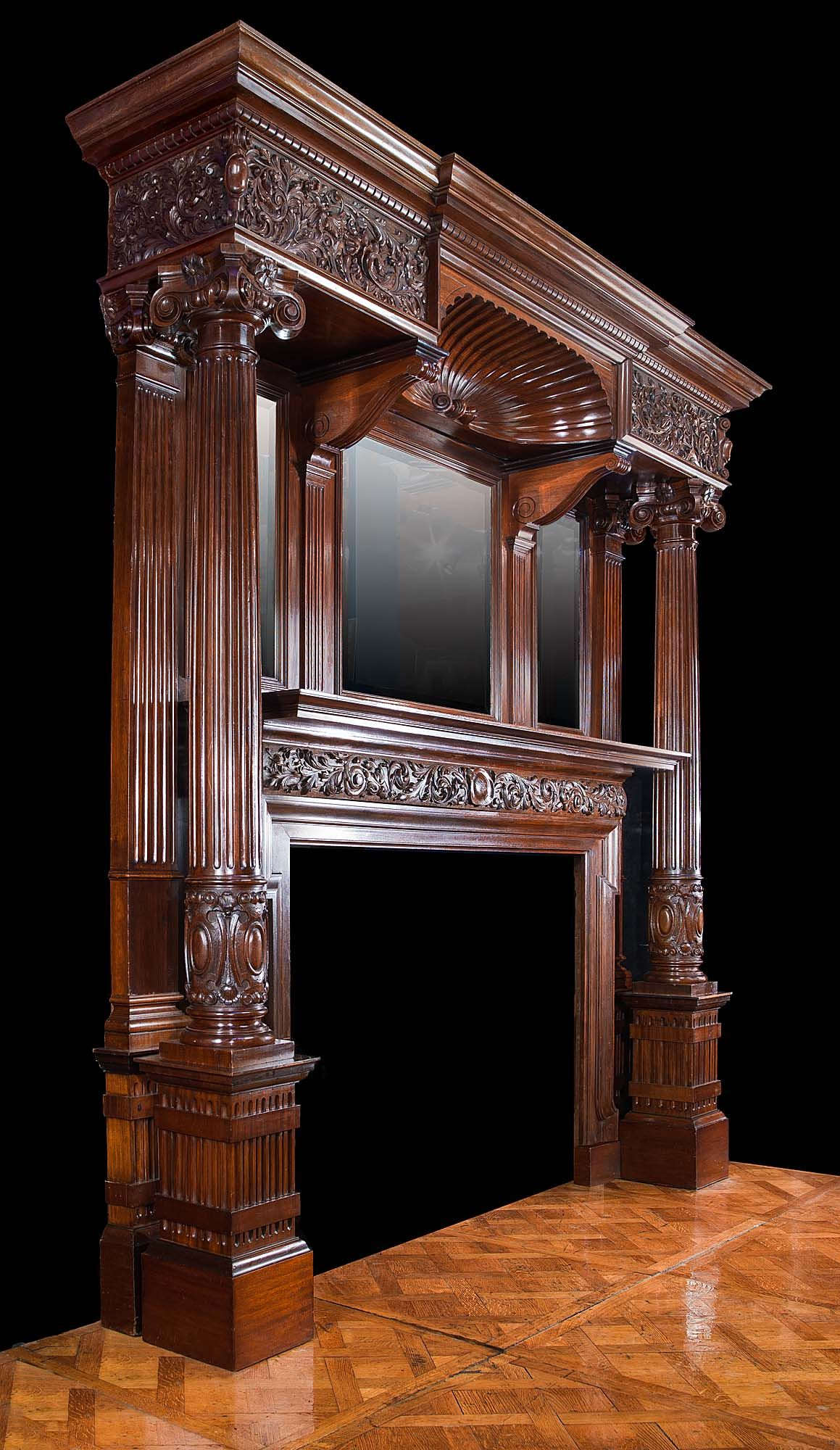 Antique mahogany late victorian fireplace mantel for Victorian woodwork