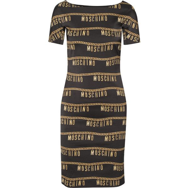 Moschino Printed stretch-crepe dress (18.933.985 VND) ❤ liked on Polyvore featuring dresses, black, moschino dress, moschino, print dress, black print dress и black dress