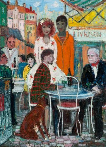 Håkan Brunberg: Kahvilassa, Pariisi, öljy kankaalle, 100x73 cm - Bukowskis F162