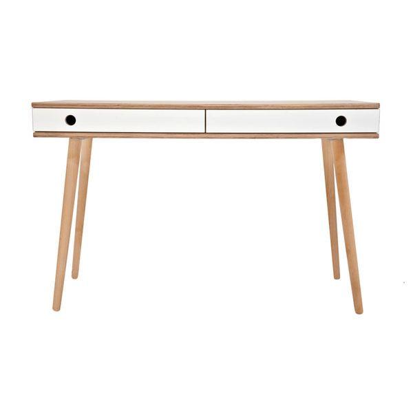 Schreibtisch MAN Aus Holz In Birke Und Weiß. Minimalistischer Schreibtisch  Mit Zwei Schubladen, Perfekt