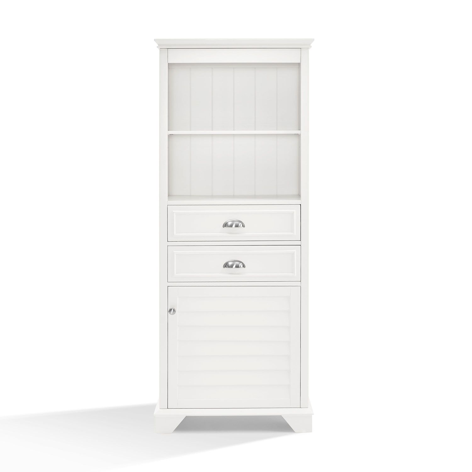 Crosley Furniture Lydia White Tall Cabinet | Linens