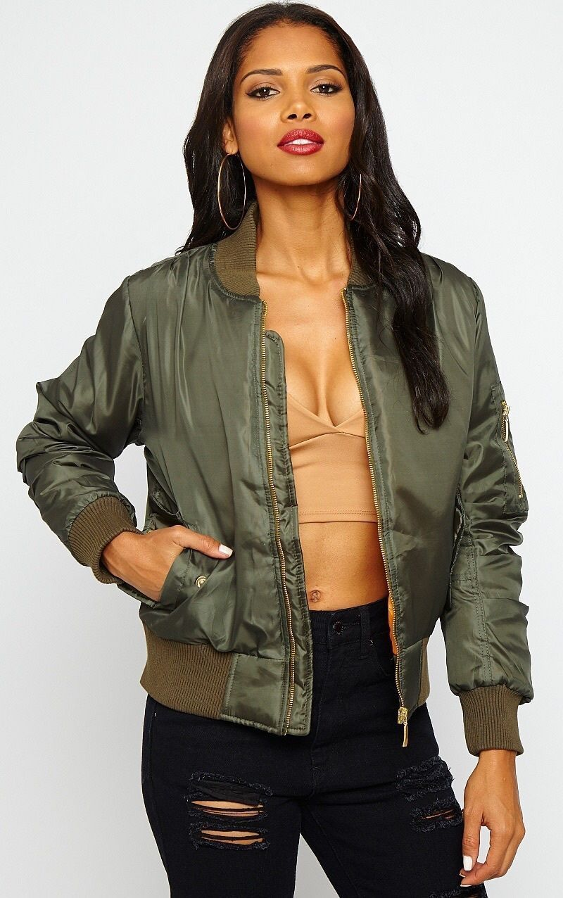 4b0a6e3160f Womens MA1 Classic Padded Bomber Jacket Ladies Vintage Zip up Biker Coat  Stylish This years absolute MUST HAVE Vintage Zip Up biker BOMBER jacket  now ...