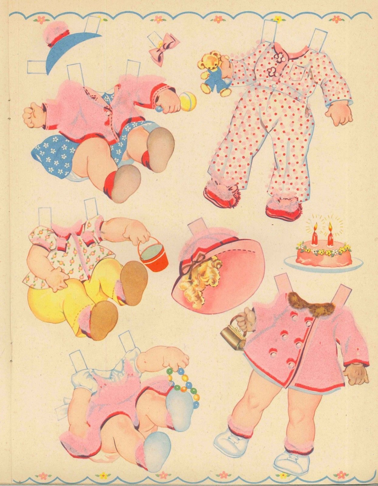 VINTAGE 1944 BABY DOLL PAPER DOLL LASER REPRODUCTIN~UNCUT BEST LO PRICE NO1 SELR