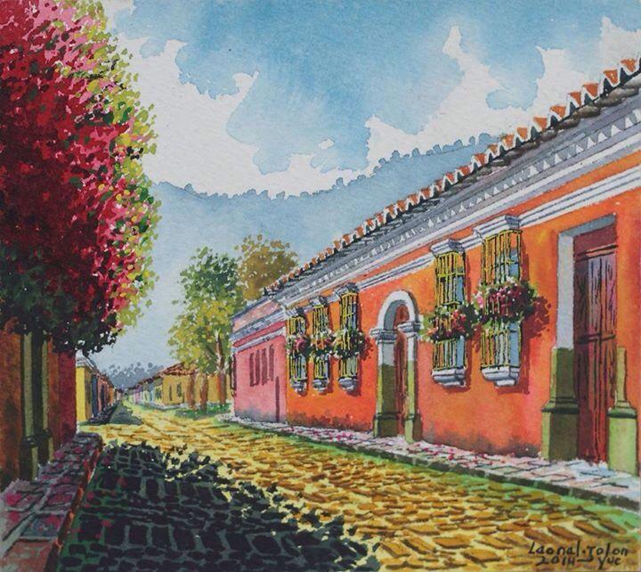Calle De La Antigua Guatemala Antigua En Pintura South American Art Guatemala Travel American Art