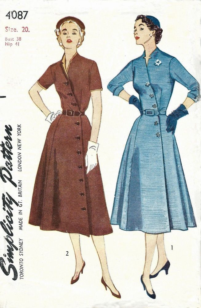 Vintage 1950s Sewing Pattern Womens Front Diagonal Buttoning Dress