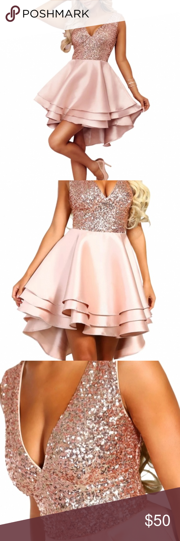 bad04f17da7 Heart Broken Pink Gold Sequin Multi Layer Skater •It s time to party like a  queen