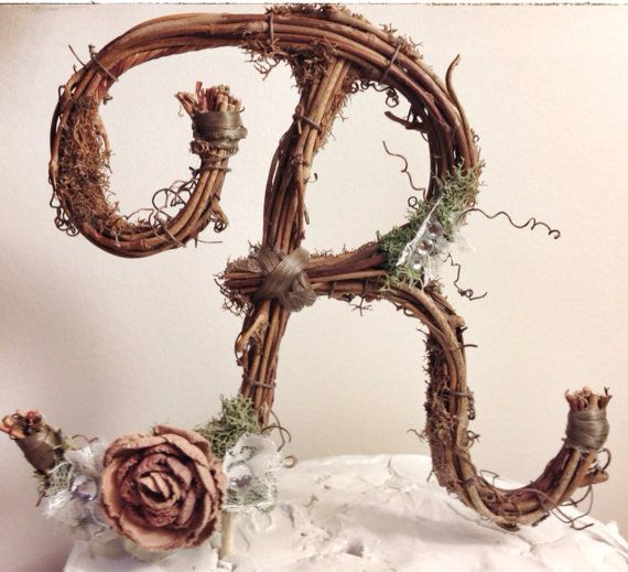 Letter R Rustic Twig Wedding Cake Topper By TheOriginalTwig