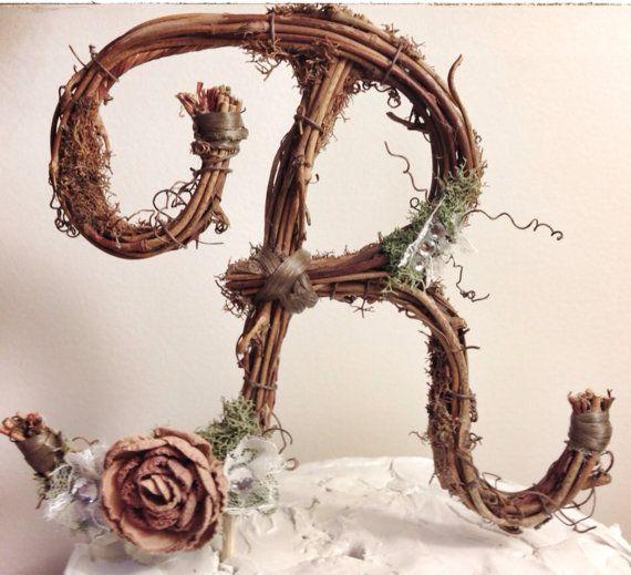 Letter R Rustic Twig Wedding Cake Topper By TheOriginalTwig