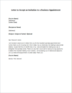 Letter To Accept An Invitation To A Business Appointment Download
