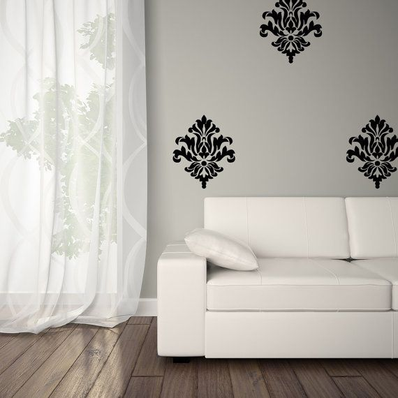vinyl damask decal - damask wall decal - vinyl damask 0038 | vinyl
