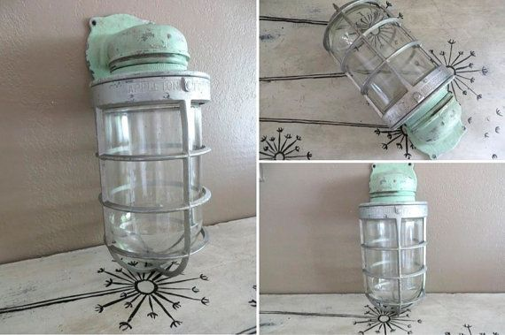 I used one of these type ship lights in my vintage trailer bathroom appleton form 200 explosion proof light industrial light fixture outdoor light fixture wall mount light fixture industrial decor mint green by aloadofball Image collections