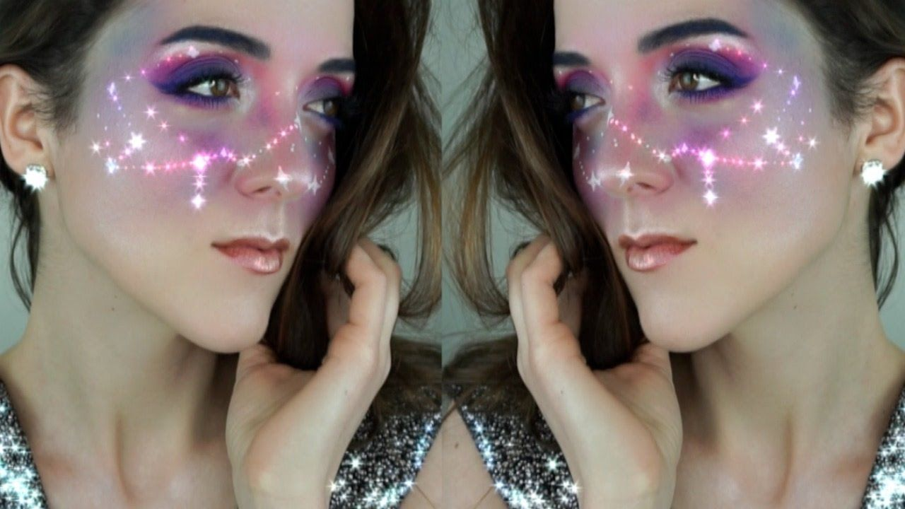 Galaxy Starred Freckles Space Makeup Tutorial Snapchat Galaxy Filter Makeup Tutorial Youtube Space Makeup Galaxy Makeup Makeup Tutorial