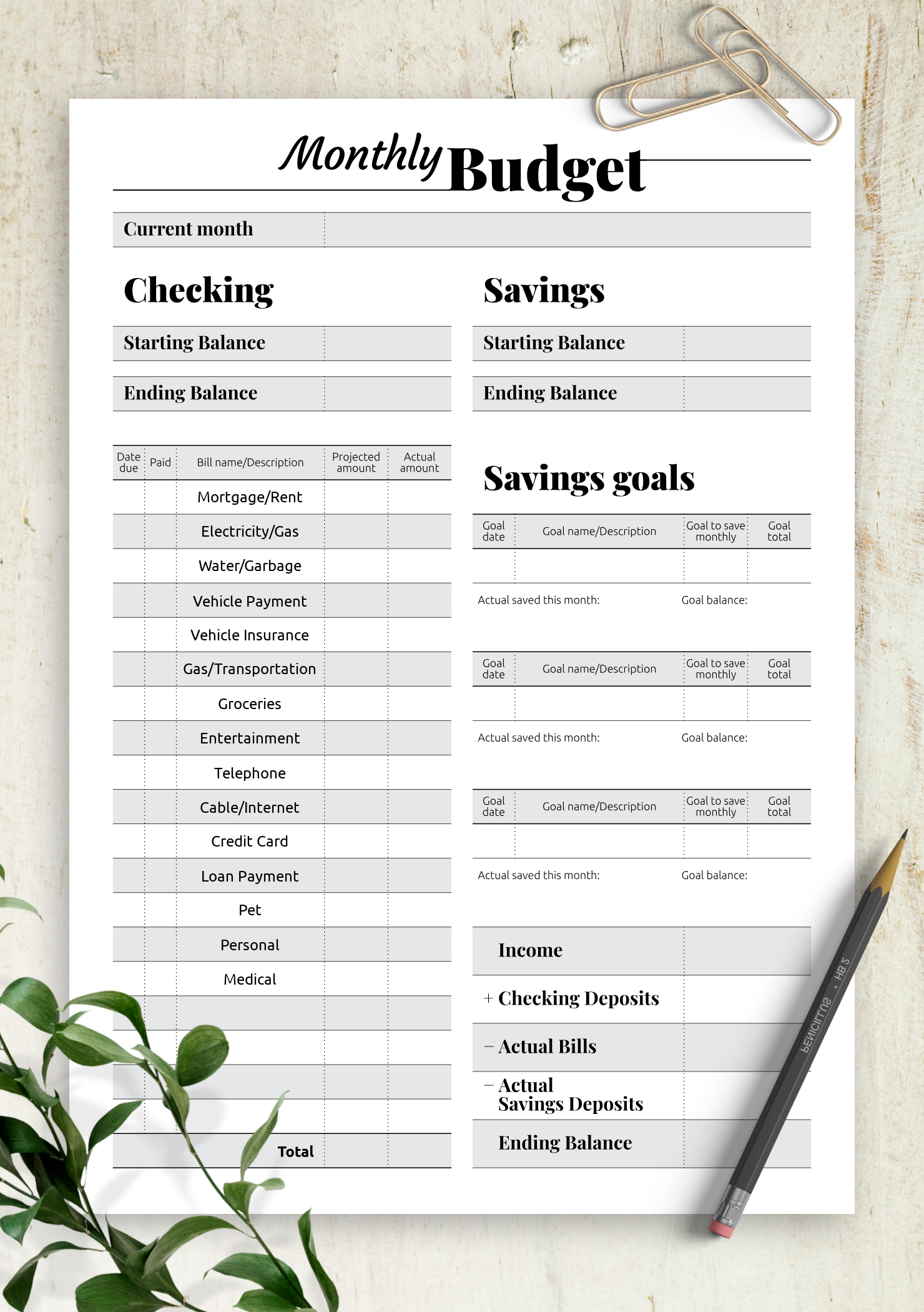 Goal Oriented Budget Template In