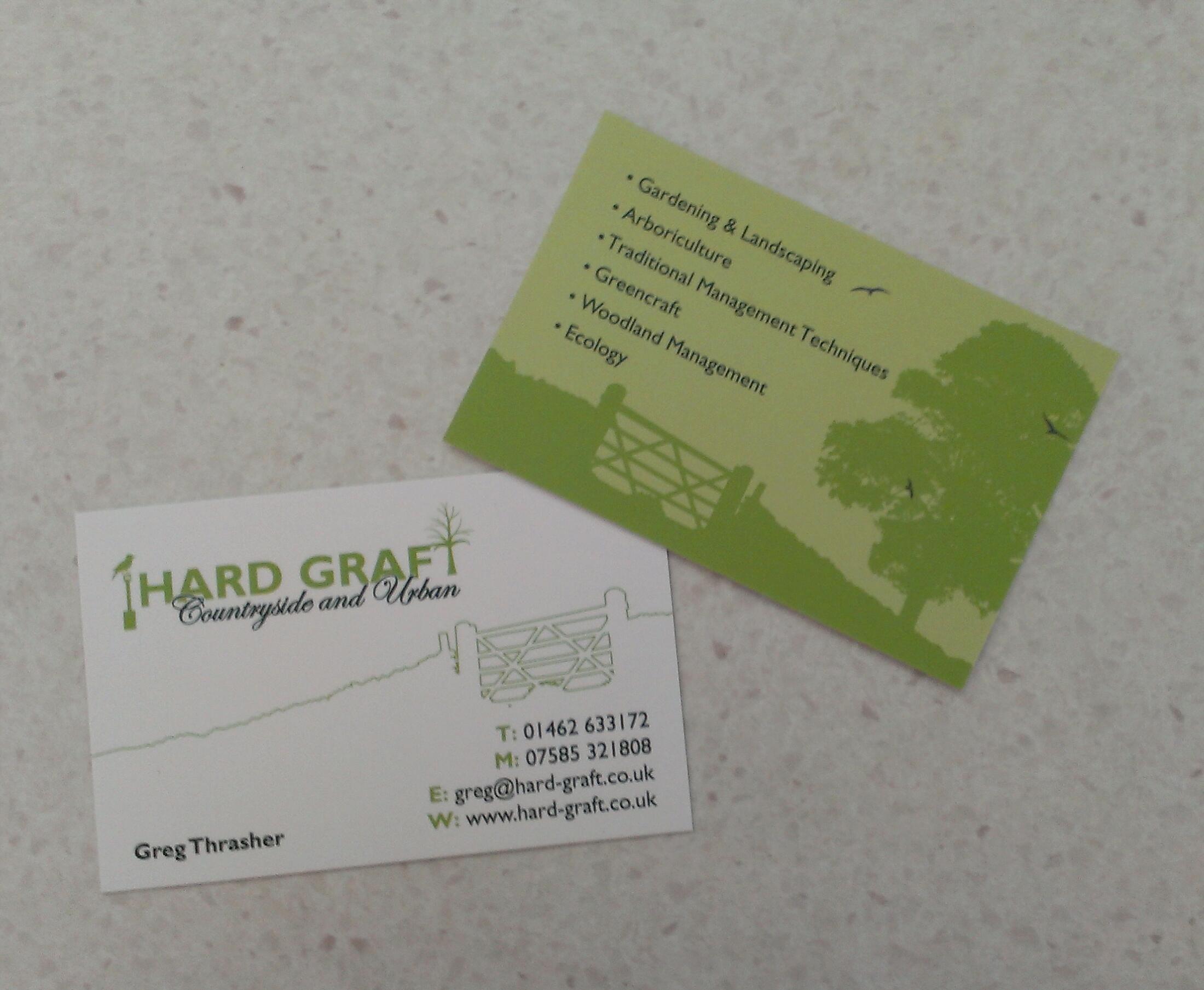 Hard Graft business card design and print. matt laminated 400gsm ...