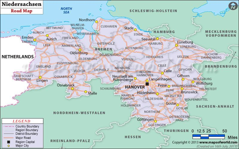Niedersachsen Road Map Germany Maps Pinterest
