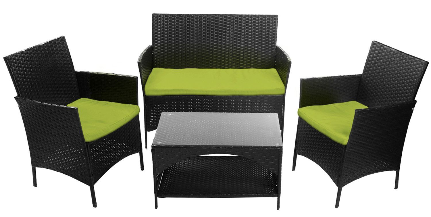 Merax pcs cushioned outdoor pe wicker patio set garden lawn rattan