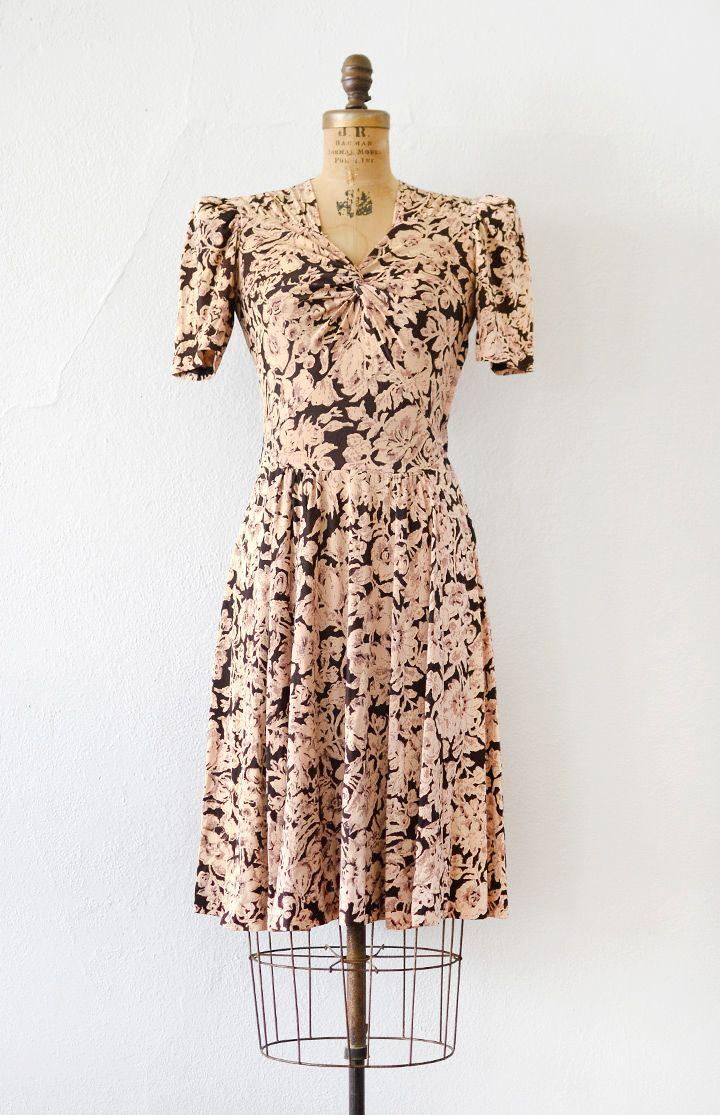 vintage 1940s maroon pink floral print rayon dress | 1940s Fashion ...