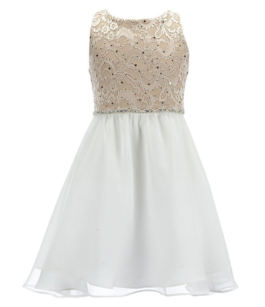 Rare Editions Big Girls 7-16 Glitter Lace Back Keyhole Dress ...
