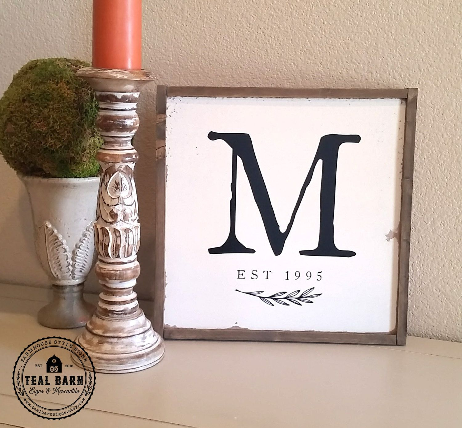 Family Name Initial Sign Established Date Farmhouse Frame Magnolia ...