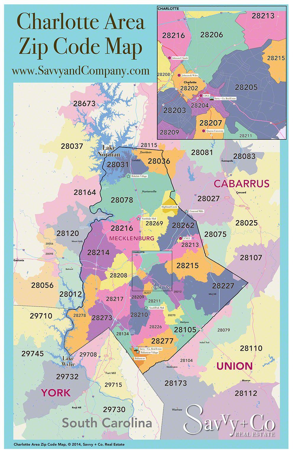Charlotte NC Area Zip Code Map We Are Charlottes Neighborhood - Charlotte usa airport map