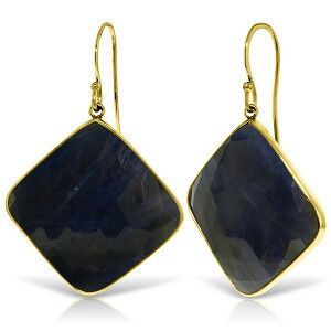 14K Solid Gold Fish Hook Earrings with Checkerboard Cut Sapphires - 5262